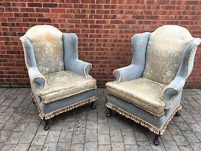 pair Wing Back Chairs  geogian style walnut carved legs