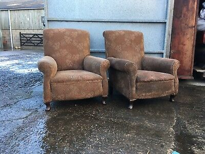 Pair Of Long Seated Howard & Son Style Chairs reduced £295