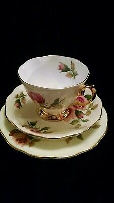 Royal Albert Pink Roses/Gold English Beauty Pattern Cup/Saucer/Salad Plate