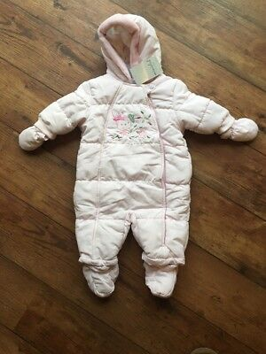 BNWT Baby Girls Pink Mini Club 3-6 Months Snow Suit Mittens Boots