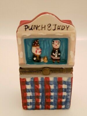 Vintage Punch & Judy Ceramic Hand Painted Matchbox Holder / Case / Cover (A2)