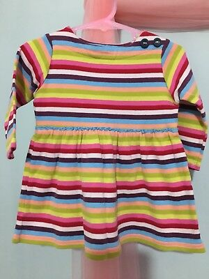 Lovely Baby Girls Next Colourful Striped Long Sleeve Dress 9-12m🌈