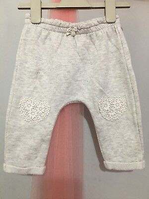Cute Baby Girls Grey Heart Knee Hareem Joggers Trousers 9-12m💕