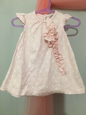 Lovely Baby Girls Petit Lem Pink & White Rose Print Frill Trim Top 9m🎀