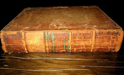 c1820 HOLY BIBLE Antique FAMILY American LEATHER Memorial Day BURTON Waterloo NY