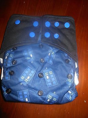 CBI Bamboo Baby Cloth Diaper Doctor Dr. WHO Tardis AIO w/pocket Double gussetts