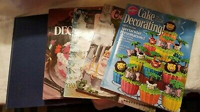 Lot of 5 Vintage Cake Decorating Books, Wilton & more! 1973 to 2006