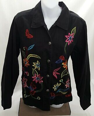 White Stag Womens Black Denim Jacket Flower Embroidery Coat Size M