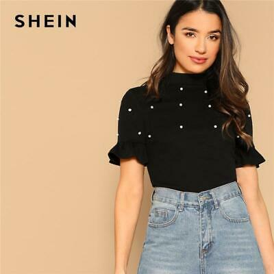 753ee4a951 SHEIN Black Mock Neck Flounce Short Sleeve Pearls Beaded Fitted Top Elegant  T Sh