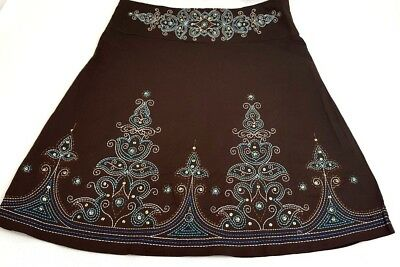 Heart Soul  Womens Skirt Cotton Blend A Line  Embroidery Brown Blue Size 5