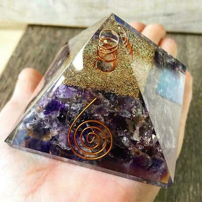 Large-70mm Amethyst Crown Chakar Orgone Pyramid EMFProtection FengShui USASeller
