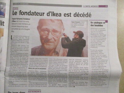Journal Du Deces De : Ingvar Kamprad - Ikea - 29/01/2018