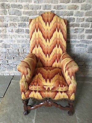 Antique Wing Back Mahogany Armchair, William & Mary, 19th Century, tapestry