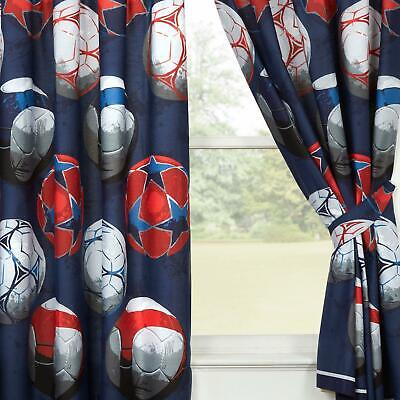 "BLUE FOOTBALL THEMED FULLY LINED CURTAINS 66"" x 54"" KIDS BOYS BEDROOM"