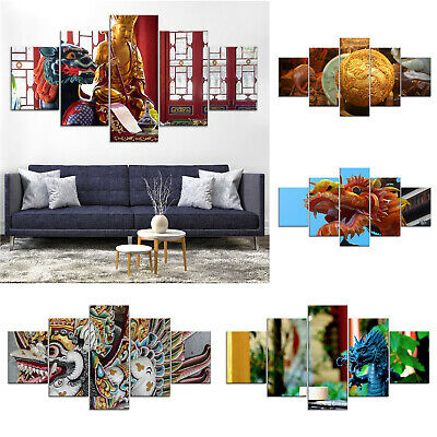 Chinese Dragon Canvas Print Painting Framed Home Decor Wall Art Poster 5P