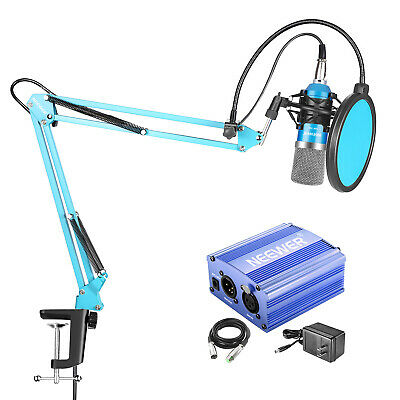 Neewer NW-700 Blue Condenser Microphone with Suspension Boom Scissor Arm Stand