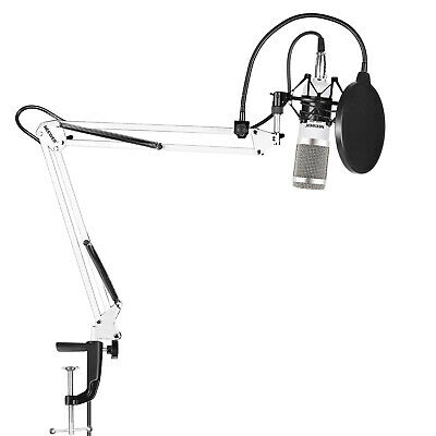 Neewer NW-800 Pro Condenser Mic with NW-35 Mic Stand with Shock Mount White