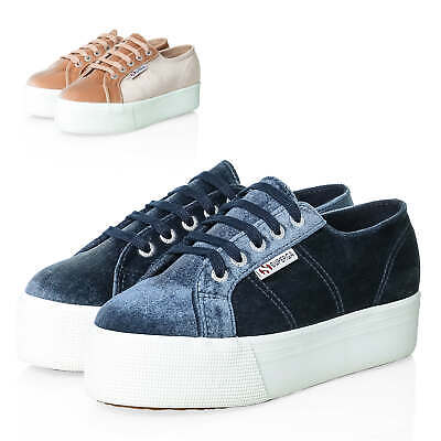 on sale 07afb ebc29 SUPERGA DAMEN SAMT Sneaker Low Top Plateau Sohle Damenschuhe Freizeitschuhe  SALE