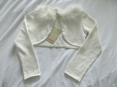 BNWT Girls Monsoon Ivory Odette Sequin Feather Crop Cardigan Bolero Age 7-8 yrs
