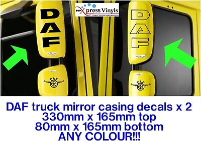DAF mirror casing decals x 2.  graphic truck stickers. ANY COLOUR!!! LF CF XF