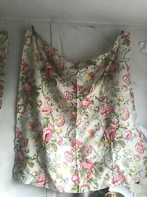 Vintage Floral Fabric Curtain Flax & Cotton Pink Yellow & Blue Bouquets / One pc