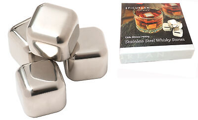 Epicurean Stainless Steel Whisky Whiskey Stones Set of 4 Ice Cube Drink Gift