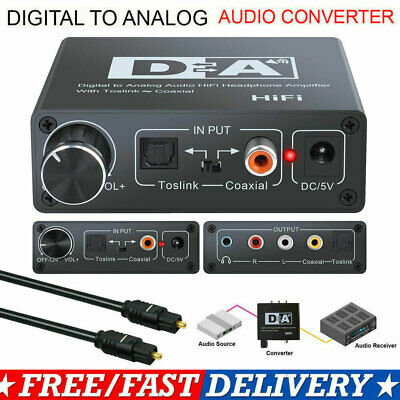 SPDIF Coaxial Optical Digital to Analog RCA Toslink Audio Converter + 1m Cable