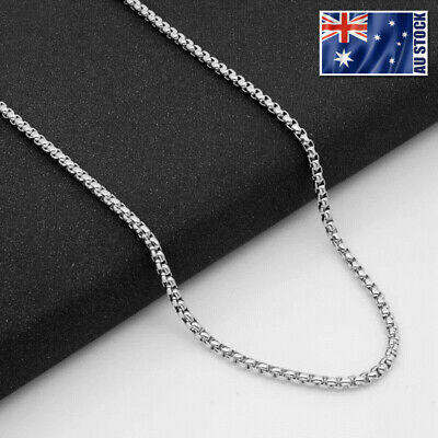Wholesale Stainless Steel Square Rolo Box Cylinder Chain Necklace Mens & Womens