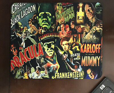 Classic Horror Movie Monsters Mouse Pad  Frankenstein Dracula Wolfman Mummy