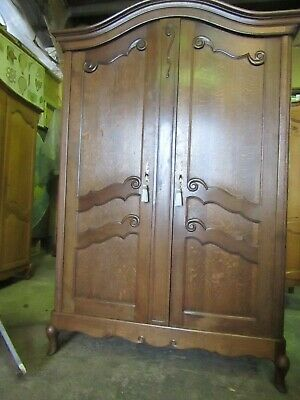 Beautiful Vintage French Dark Oak Bow Top armoire,wardrobe,hall robe.Louis XV