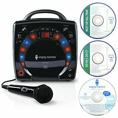 Singing Machine SML-283 Portable CD-G Karaoke Player and 3 CDGs Party Pack - Bla