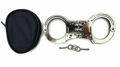 Carbon Steel Hinged Handcuffs with Case - Heavy Duty Security Handcuffs with Dou