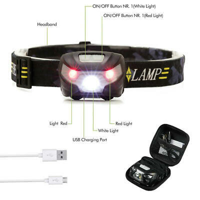 LED Head Torch Headlight Lamp CE Camping Induction Headlamp USB Rechargeable