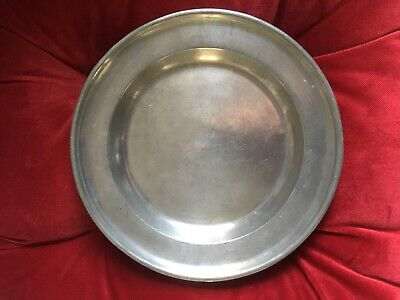 Primitive Antique American 19th Century Pewter Semi-Deep Plate Marked