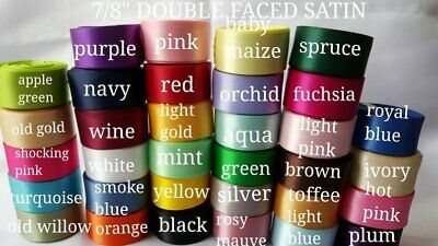 "WHOLESALE DOUBLE FACED SATIN 7/8"" wide 5 yards you pick color wholesale ribbon"