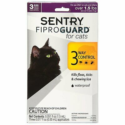 Sentry FiproGuard Flea & Tick - Topical - CATS - 1.5 Pounds + - 3 Months - NIB