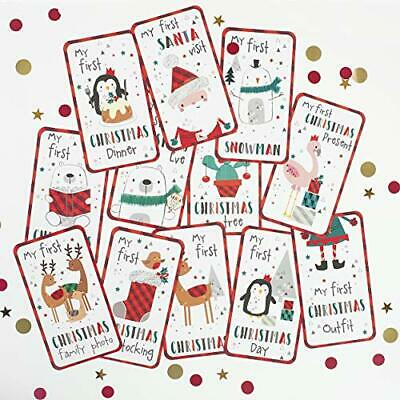 On The Wall My First Christmas Baby Milestone Age Cards