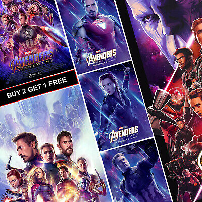 Avengers Endgame Marvel Movie Posters A4 HD Prints Art Promo IMAX MCU End Game