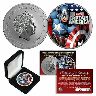 2019 1oz Pure Silver BU Tuvalu Marvel CAPTAIN AMERICA Avengers Coin Ltd # of 219