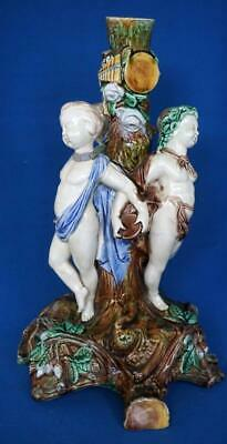 Wedgwood Antique Majolica Pottery Large Cherub Table Centrepiece