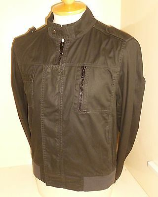 Military  Style Bomber Shoulder  Black Jacket Size Small Indie Mod Gothic