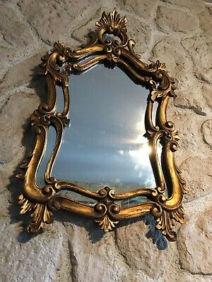Mirror a Parts Closed Fine 19th Louis XV Style Wood Golden
