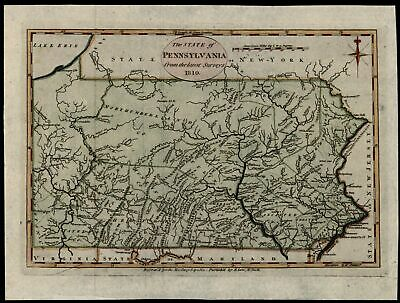Pennsylvania 1810 Reid Martin state map Low re-issue 1796 Wheat & Brun # 450