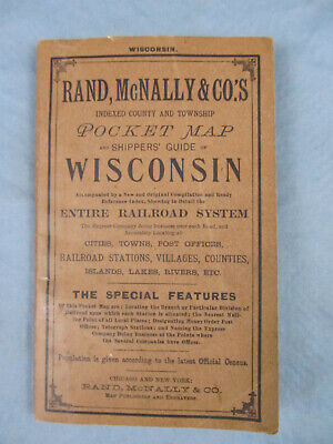 1897 WISCONSIN Shippers Guide Entire RailRoad System Pocket Map Index Booklet
