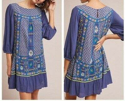 165b99f46505 NWT ANTHROPOLOGIE HADLEY Embroidered Tunic Dress By Ranna Gill Sz ...