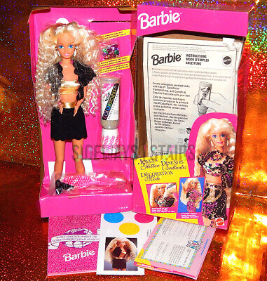 1993 JEWEL & GLITTER BARBIE Mattel sequins vest skirt tri-lingual box 90s Selena