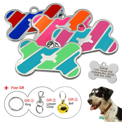 Stainless Steel Custom Laser Engraved Pet ID Tags Bone Shape fit Small Large Dog