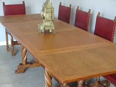 Antique French Gothic Kitchen Dining Breakfast Table 2 Leaf Extension Oak 1930