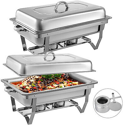 2 Set Stainless Steel Bain Marie Chafing Dishes Buffet Food Warmer Pan Heater
