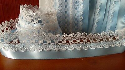Beautiful Knitting In Lace White Baby Blue Double Sided Satin Ribbon Trim